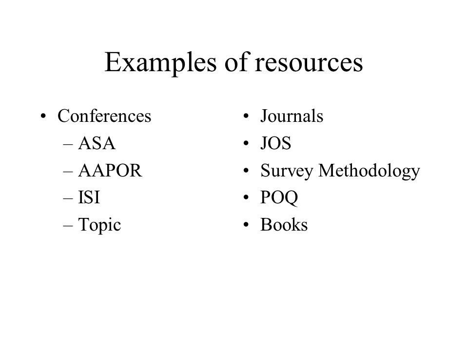 Examples of resources Conferences –ASA –AAPOR –ISI –Topic Journals JOS Survey Methodology POQ Books