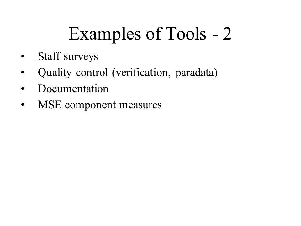 Examples of Tools - 2 Staff surveys Quality control (verification, paradata) Documentation MSE component measures