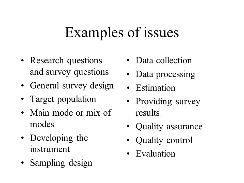 Examples of issues Research questions and survey questions General survey design Target population Main mode or mix of modes Developing the instrument
