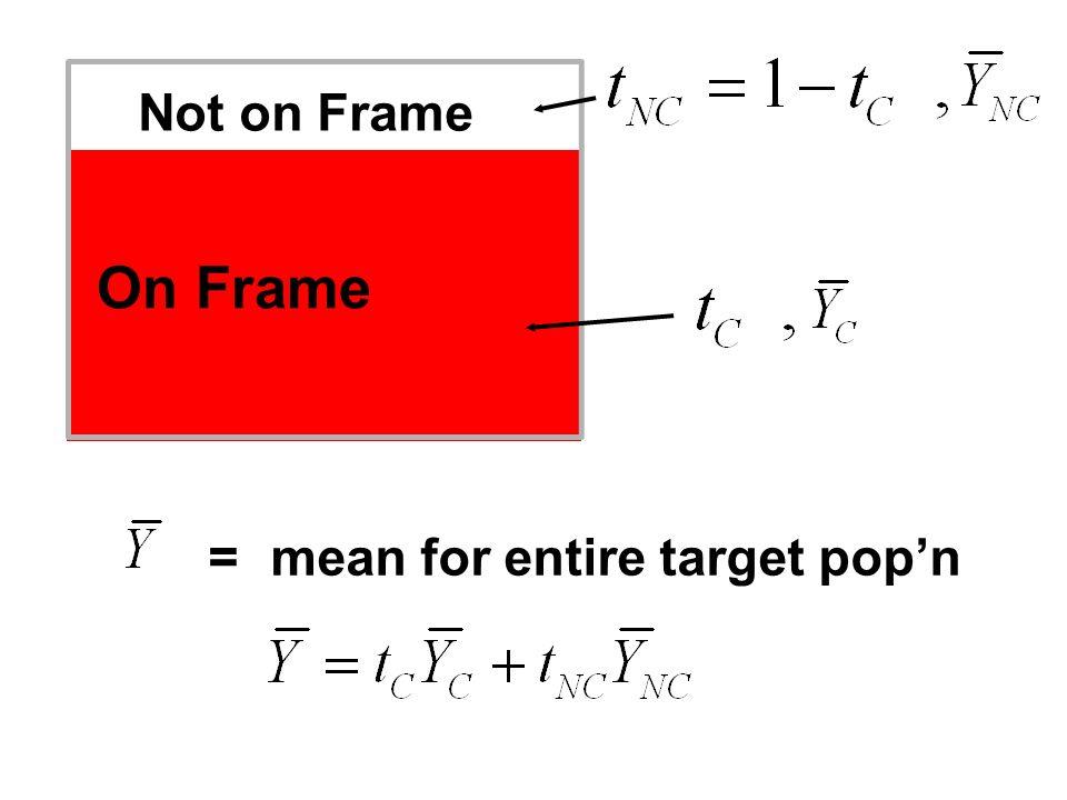 Not on Frame On Frame =mean for entire target popn