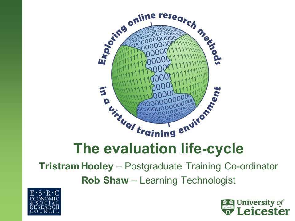 The evaluation life-cycle Tristram Hooley – Postgraduate Training Co-ordinator Rob Shaw – Learning Technologist
