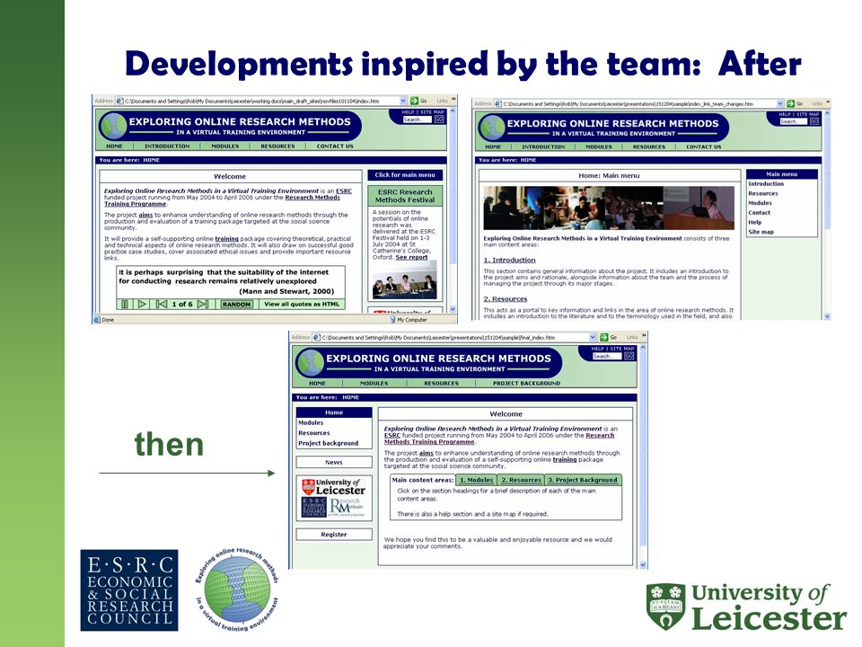 Developments inspired by the team: After then