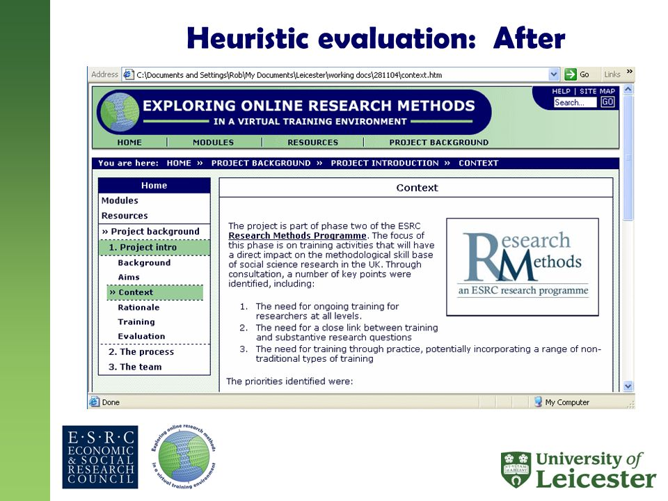 Heuristic evaluation: After