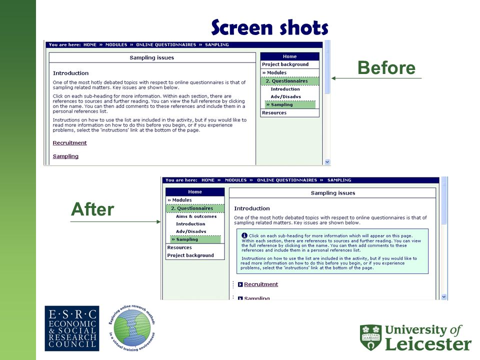 Screen shots Before After