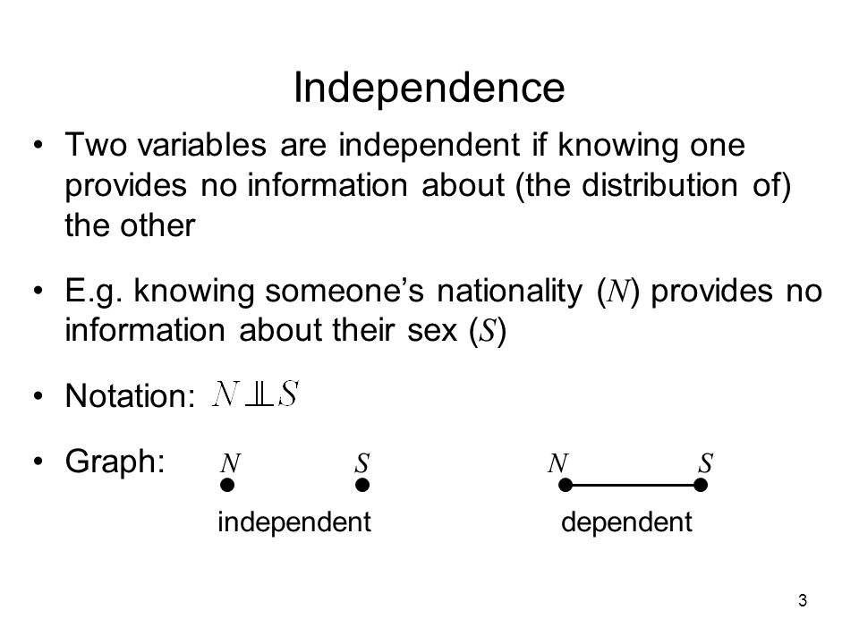 3 Independence Two variables are independent if knowing one provides no information about (the distribution of) the other E.g.