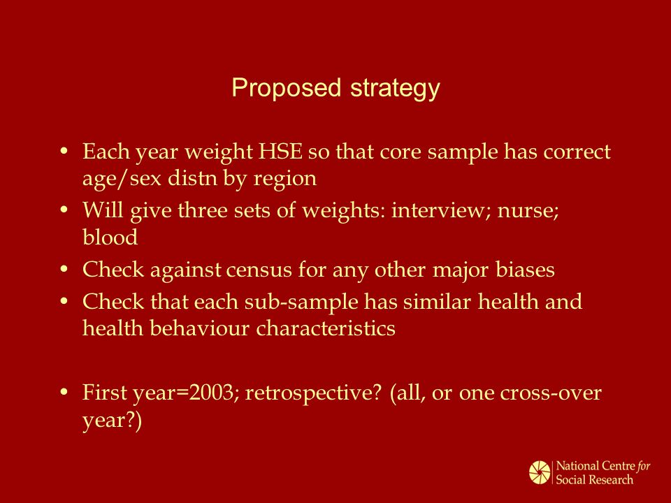 Proposed strategy Each year weight HSE so that core sample has correct age/sex distn by region Will give three sets of weights: interview; nurse; blood Check against census for any other major biases Check that each sub-sample has similar health and health behaviour characteristics First year=2003; retrospective.