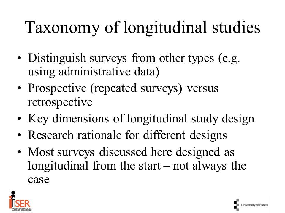Taxonomy of longitudinal studies Distinguish surveys from other types (e.g. using administrative data) Prospective (repeated surveys) versus retrospec