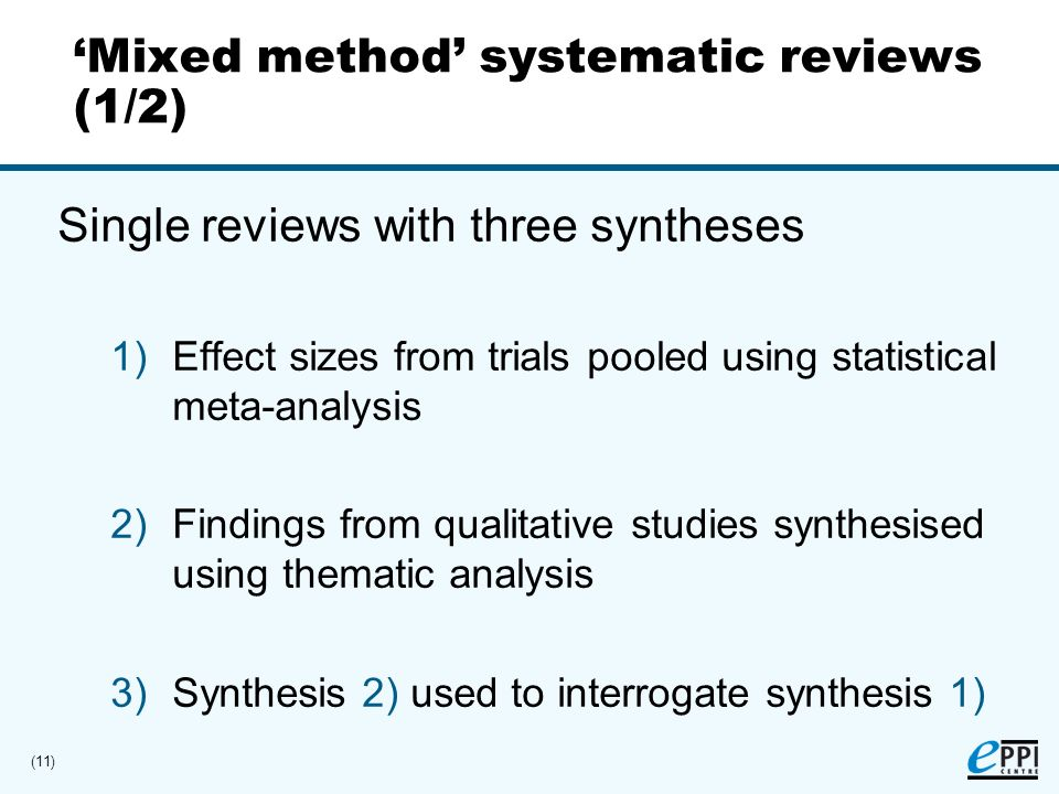 (11) Mixed method systematic reviews (1/2) Single reviews with three syntheses 1)Effect sizes from trials pooled using statistical meta-analysis 2)Findings from qualitative studies synthesised using thematic analysis 3)Synthesis 2) used to interrogate synthesis 1)