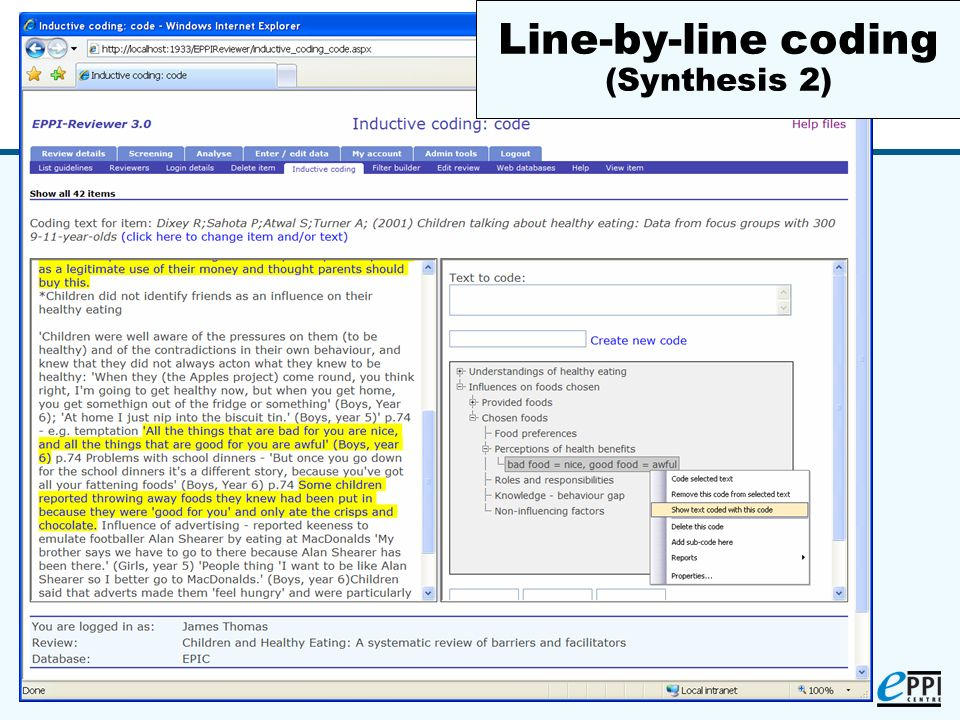 (15) Line-by-line coding (Synthesis 2)