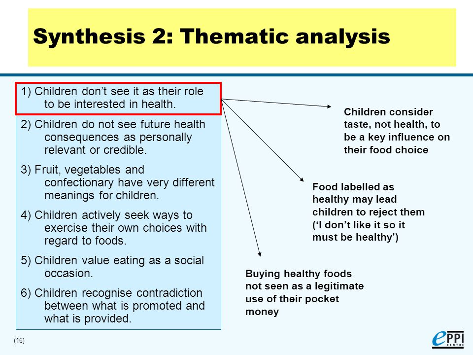 (16) 1) Children dont see it as their role to be interested in health.