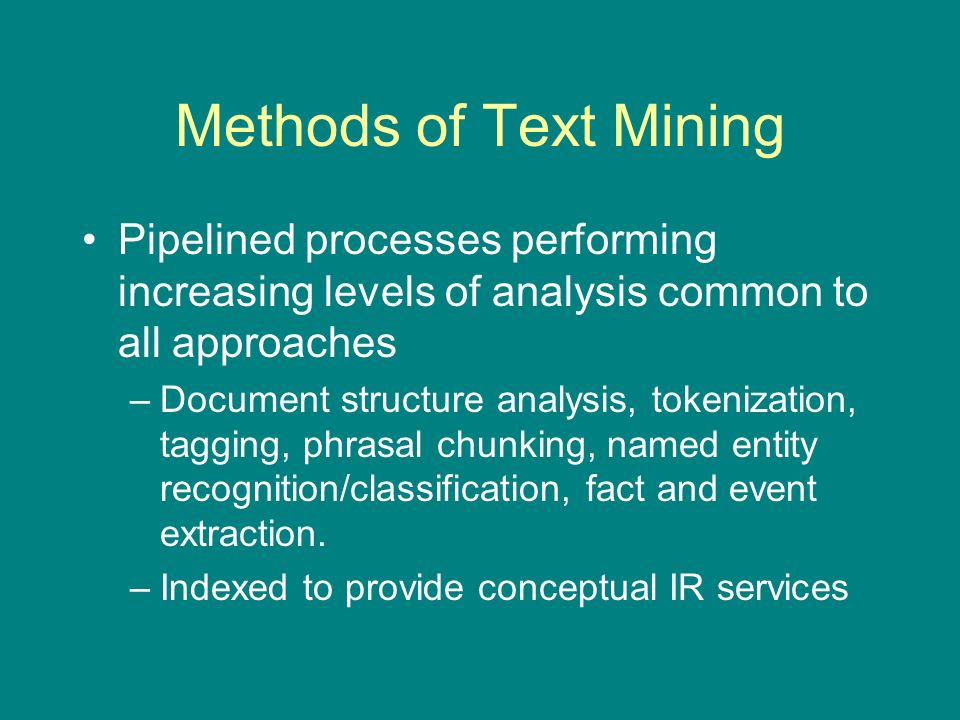 Sample text mining sub-tasks Named entity recognition and classification.