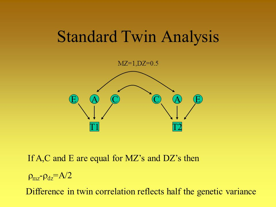 Standard Twin Analysis CAE T2 EAC T1 MZ=1,DZ=0.5 mz - dz =A/2 Difference in twin correlation reflects half the genetic variance If A,C and E are equal for MZs and DZs then