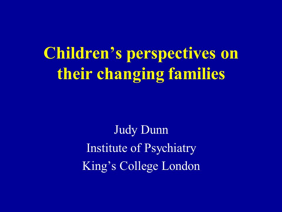 Longitudinal follow-up on drawings, interviews and maps Stability of who is excluded from drawings over 3 years Notable sensitivity of young children to distinction between relations with birth and stepparents Significance of g.parents in adjustment Longitudinal stability childrens views