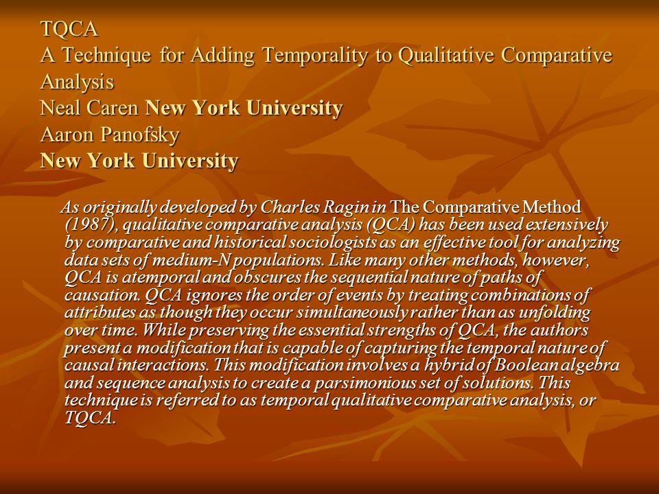 TQCA A Technique for Adding Temporality to Qualitative Comparative Analysis Neal Caren New York University Aaron Panofsky New York University As origi