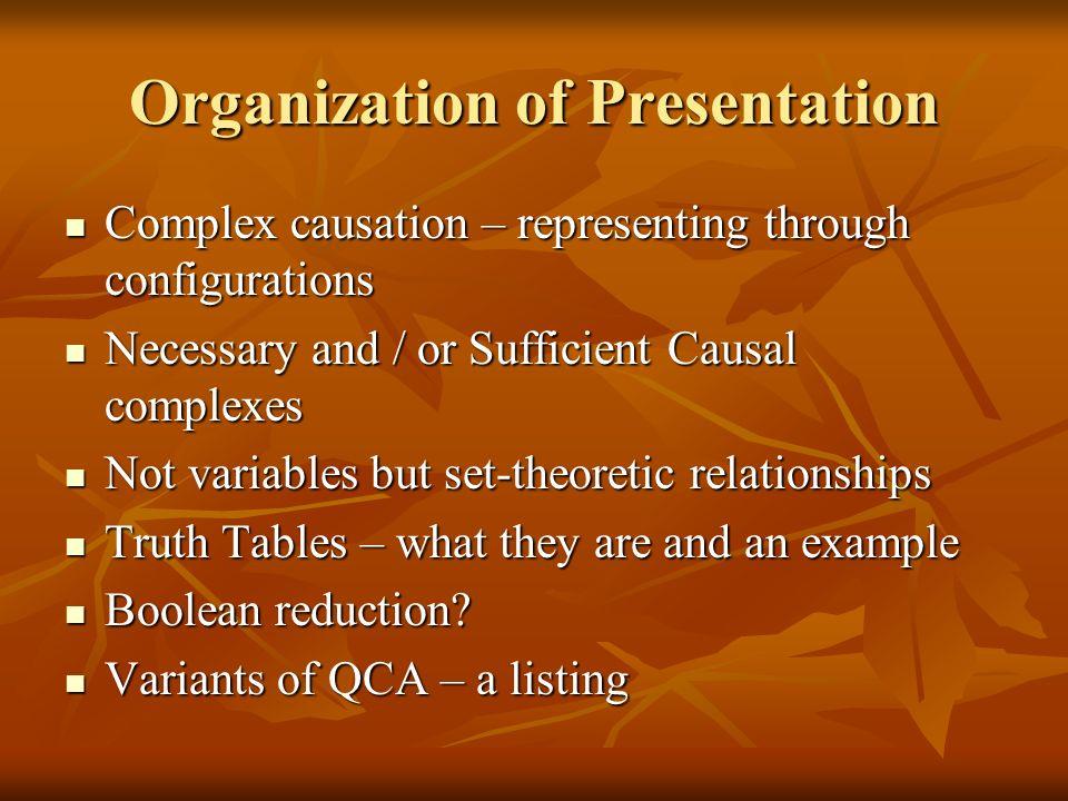Organization of Presentation Complex causation – representing through configurations Complex causation – representing through configurations Necessary