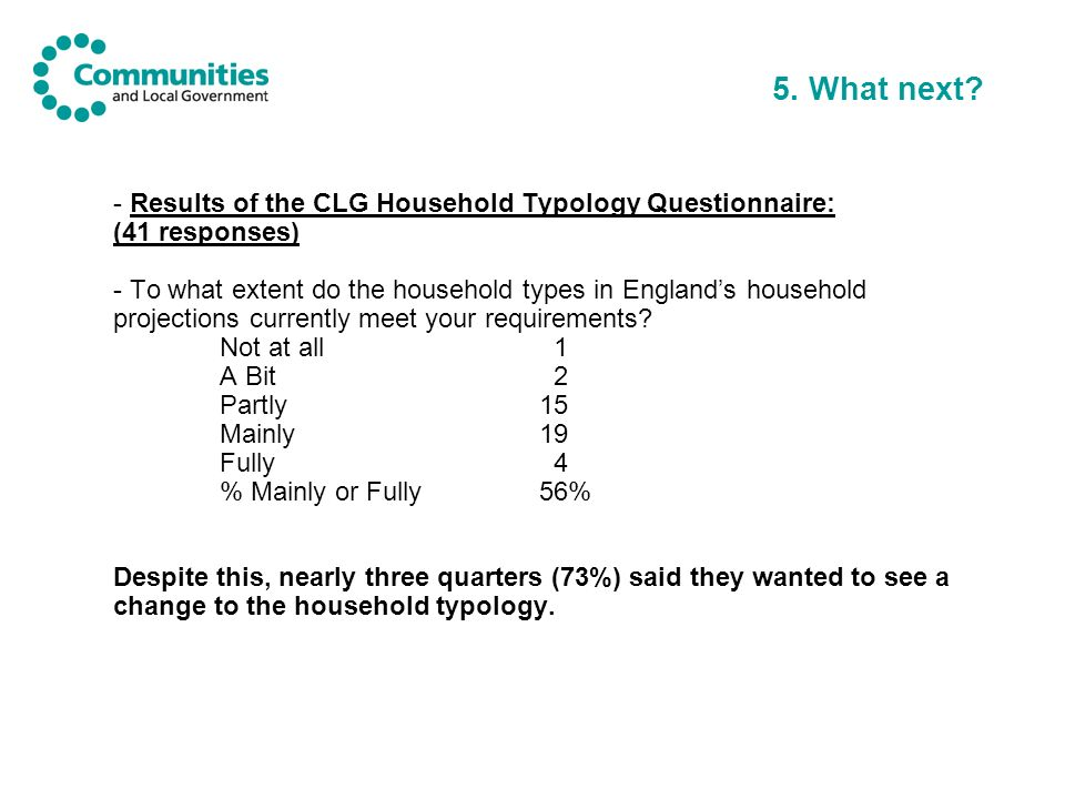 5. What next? - Results of the CLG Household Typology Questionnaire: (41 responses) - To what extent do the household types in Englands household proj