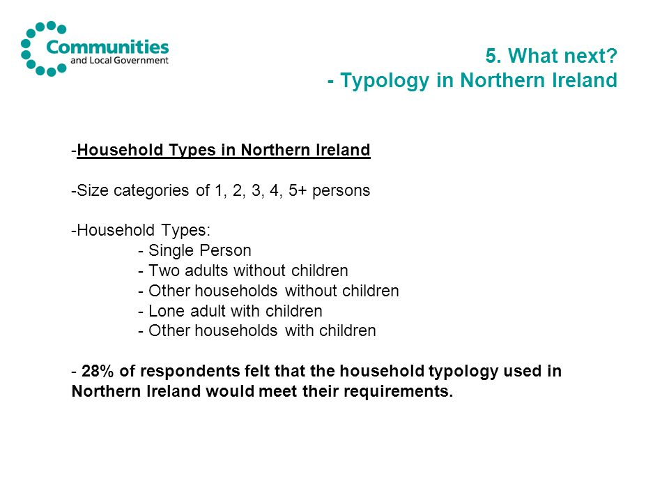 5. What next? - Typology in Northern Ireland -Household Types in Northern Ireland -Size categories of 1, 2, 3, 4, 5+ persons -Household Types: - Singl