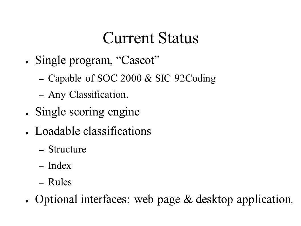 Current Status Single program, Cascot – Capable of SOC 2000 & SIC 92Coding – Any Classification. Single scoring engine Loadable classifications – Stru