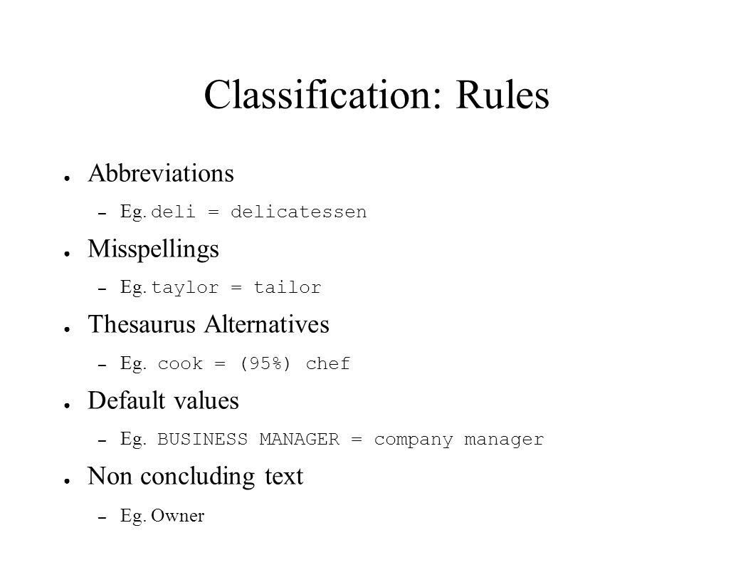 Classification: Rules Abbreviations – Eg. deli = delicatessen Misspellings – Eg. taylor = tailor Thesaurus Alternatives – Eg. cook = (95%) chef Defaul