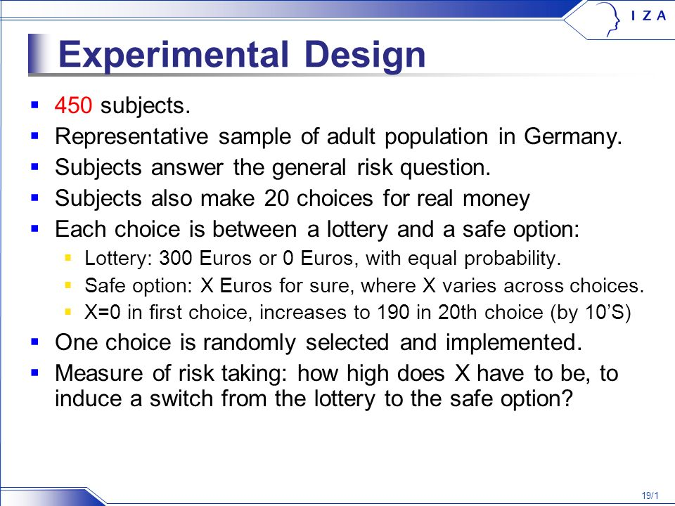 19/1 Experimental Design 450 subjects. Representative sample of adult population in Germany.