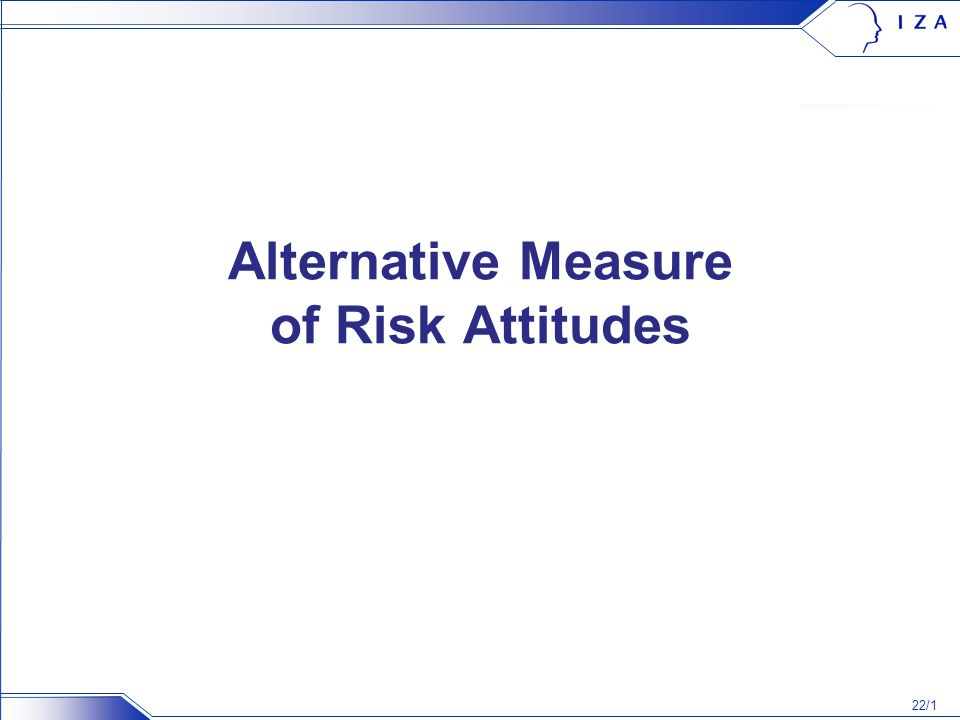 22/1 Alternative Measure of Risk Attitudes