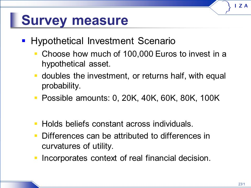 23/1 Survey measure Hypothetical Investment Scenario Choose how much of 100,000 Euros to invest in a hypothetical asset.