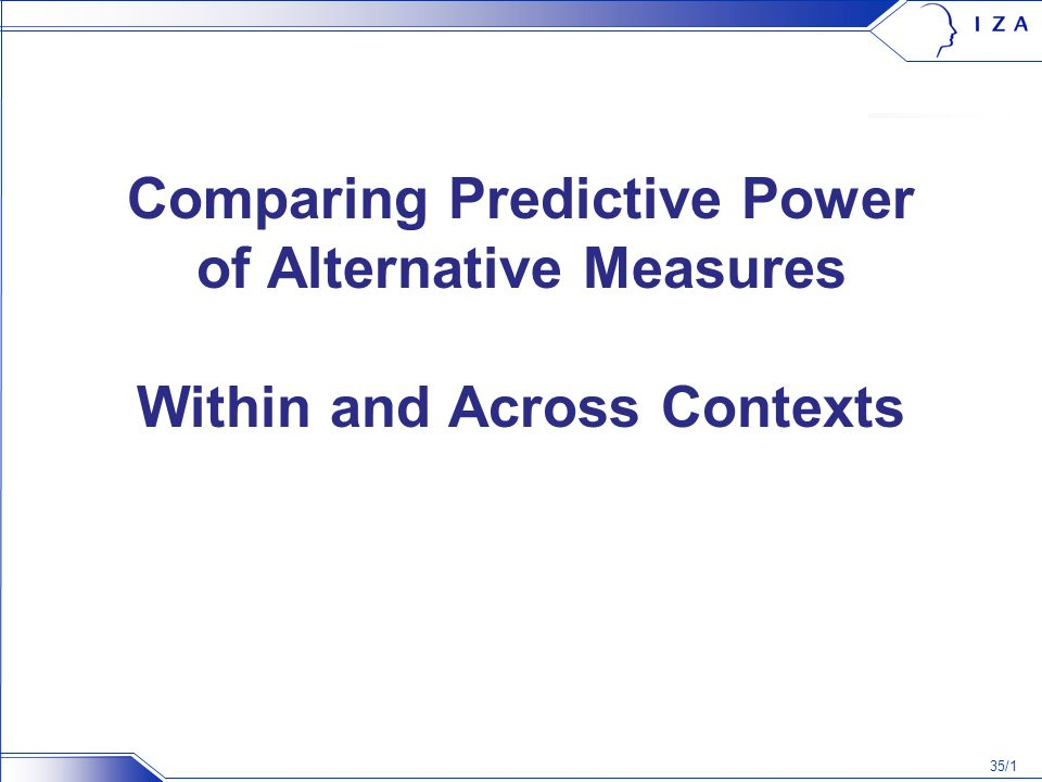 35/1 Comparing Predictive Power of Alternative Measures Within and Across Contexts