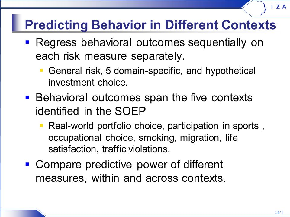 36/1 Predicting Behavior in Different Contexts Regress behavioral outcomes sequentially on each risk measure separately.