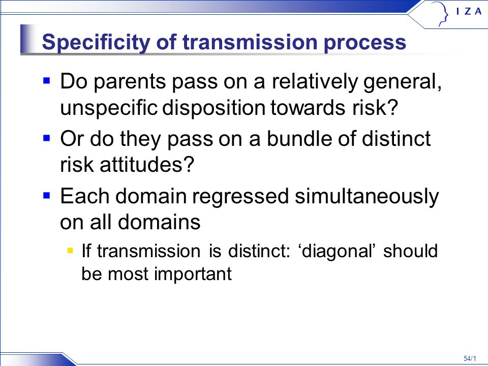 54/1 Specificity of transmission process Do parents pass on a relatively general, unspecific disposition towards risk.