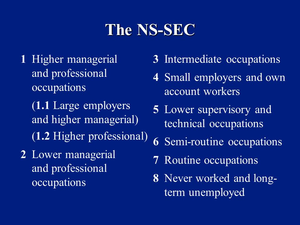 The NS-SEC 1Higher managerial and professional occupations (1.1 Large employers and higher managerial) (1.2 Higher professional) 2Lower managerial and professional occupations 3Intermediate occupations 4Small employers and own account workers 5Lower supervisory and technical occupations 6Semi-routine occupations 7Routine occupations 8Never worked and long- term unemployed