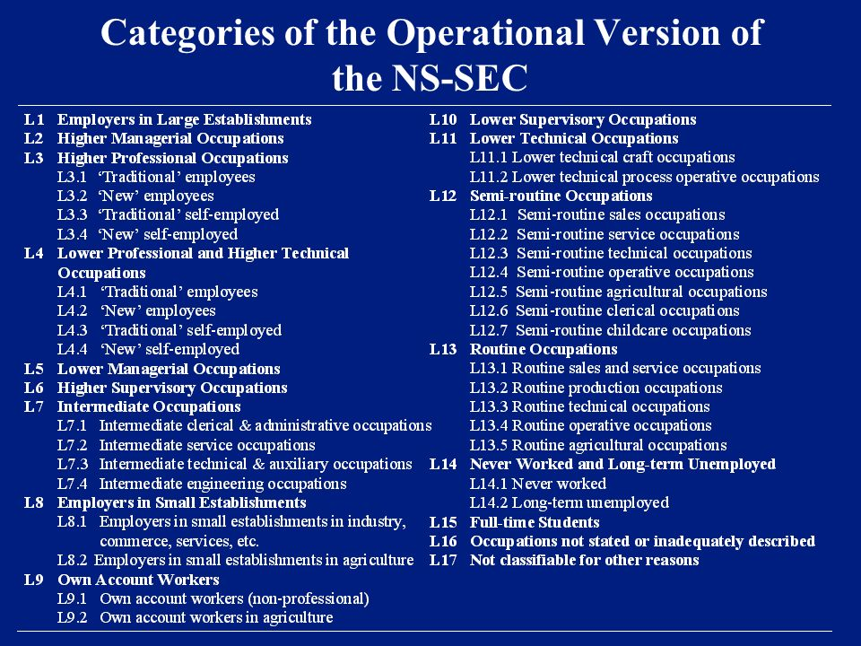 Categories of the Operational Version of the NS-SEC