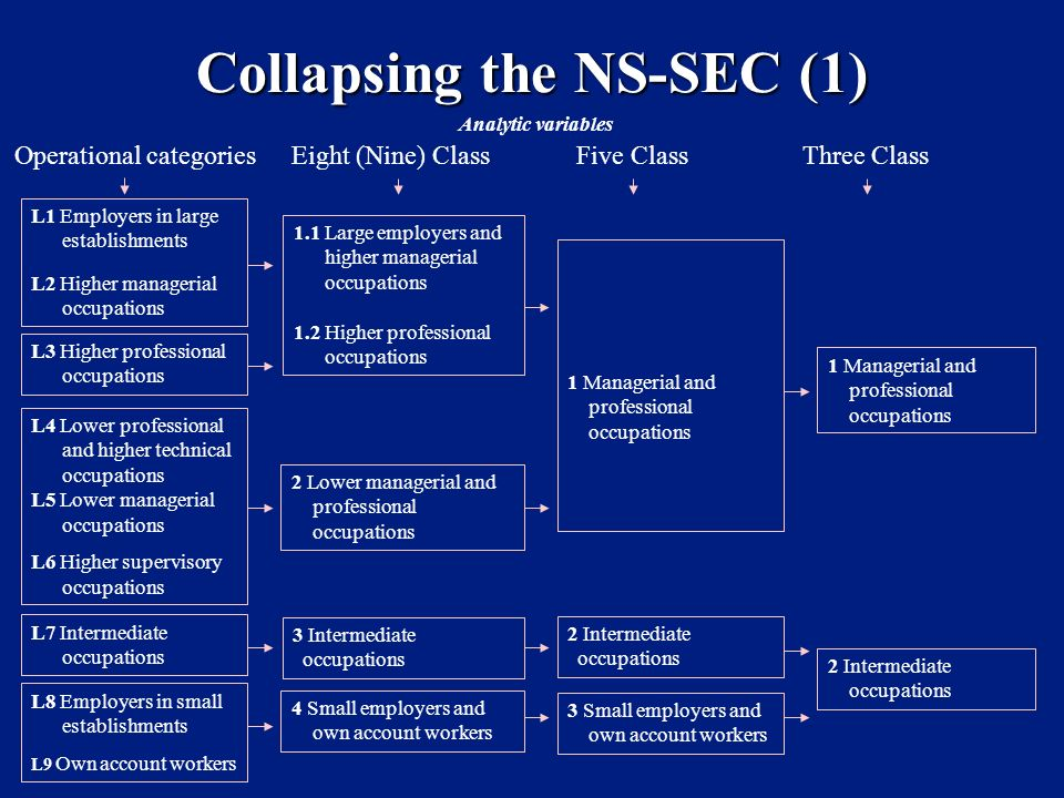 Collapsing the NS-SEC (1) Operational categoriesEight (Nine) ClassFive ClassThree Class L1 Employers in large establishments L2 Higher managerial occupations 1.1 Large employers and higher managerial occupations 1.2 Higher professional occupations 1 Managerial and professional occupations 1 Managerial and professional occupations L3 Higher professional occupations L4 Lower professional and higher technical occupations L5 Lower managerial occupations L6 Higher supervisory occupations 2 Lower managerial and professional occupations L7 Intermediate occupations 3 Intermediate occupations L8 Employers in small establishments L9 Own account workers 4 Small employers and own account workers 2 Intermediate occupations Analytic variables 3 Small employers and own account workers