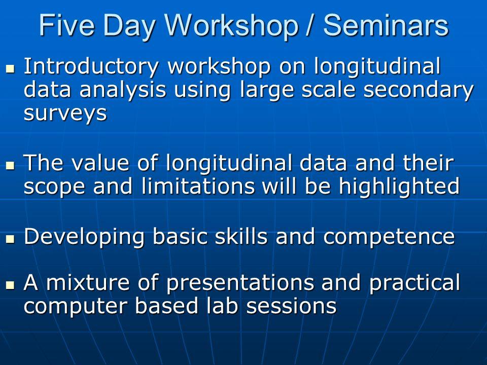 Five Day Workshop / Seminars Introductory workshop on longitudinal data analysis using large scale secondary surveys Introductory workshop on longitud
