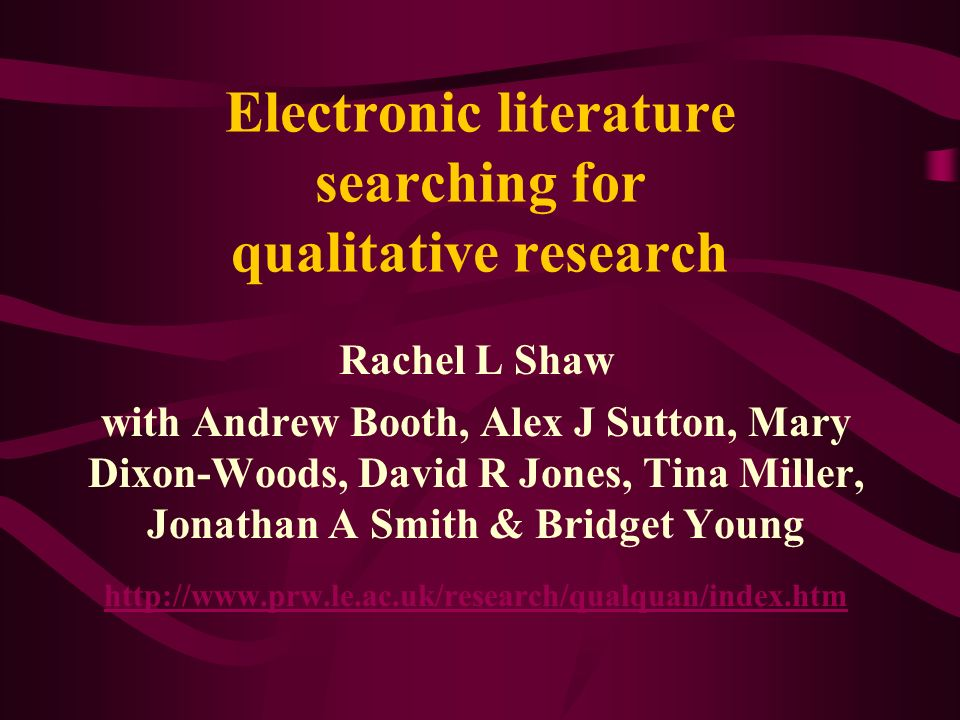 Getting strict on method Many mixed methods studies identified during abstract screening (predominantly quantitative with small qualitative component) Decision taken to limit inclusion to qualitative studies only (& if mixed methods used then qualified only if predominantly qualitative) This demonstrates the iterative process required in such a new field of literature searching