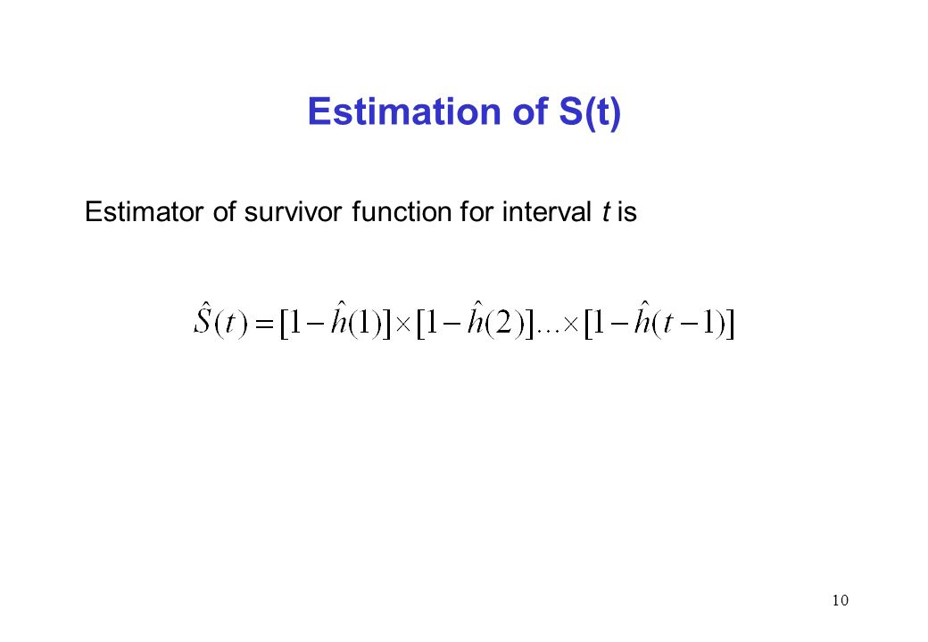 10 Estimation of S(t) Estimator of survivor function for interval t is