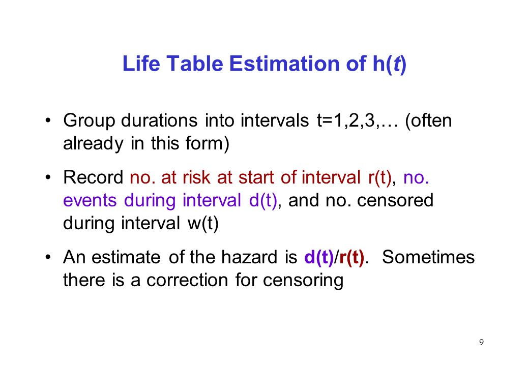 9 Life Table Estimation of h(t) Group durations into intervals t=1,2,3,… (often already in this form) Record no. at risk at start of interval r(t), no