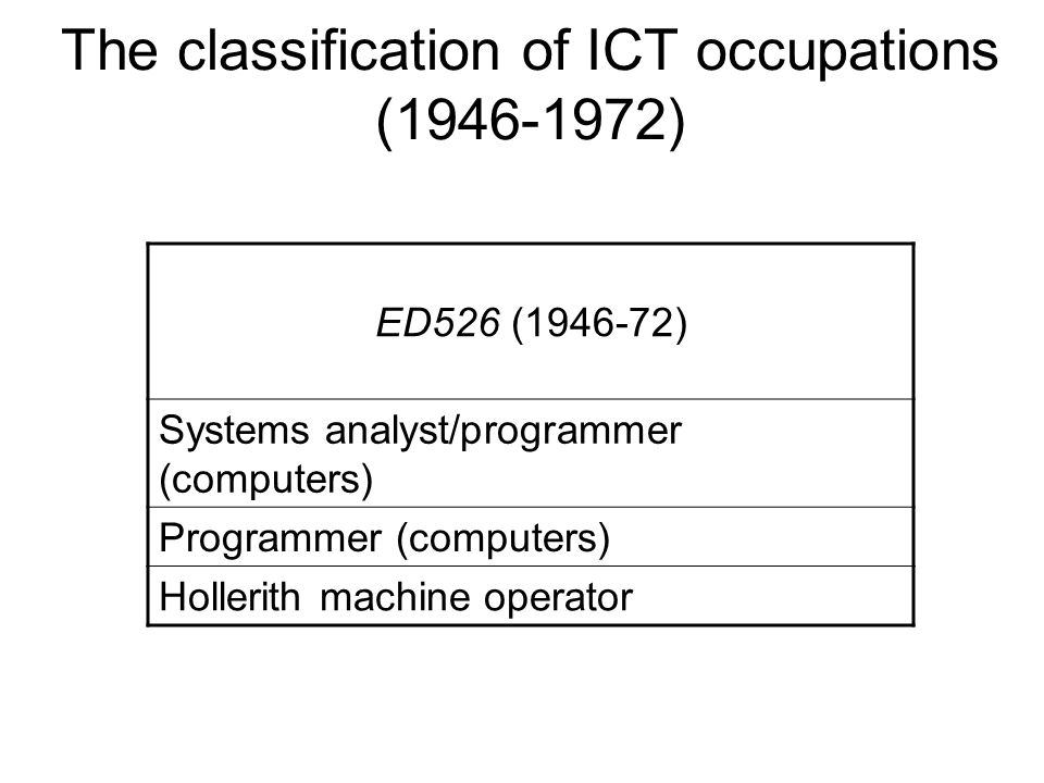 The classification of ICT occupations (1946-1972) ED526 (1946-72) Systems analyst/programmer (computers) Programmer (computers) Hollerith machine operator