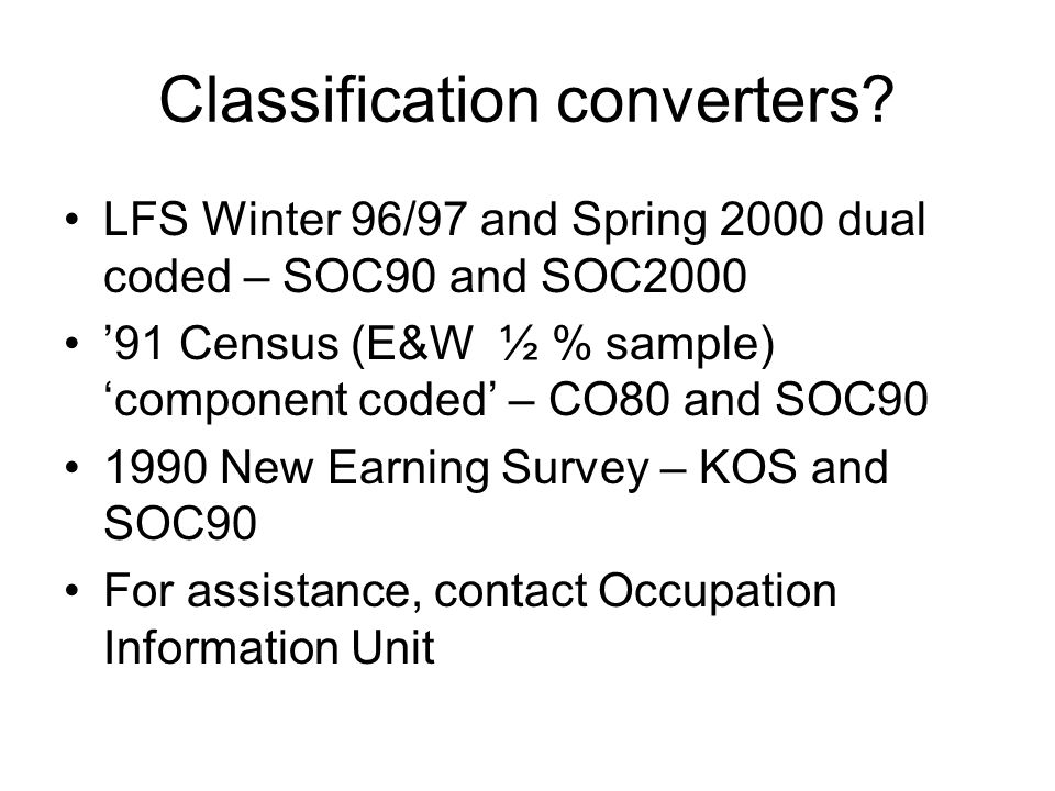 Classification converters.