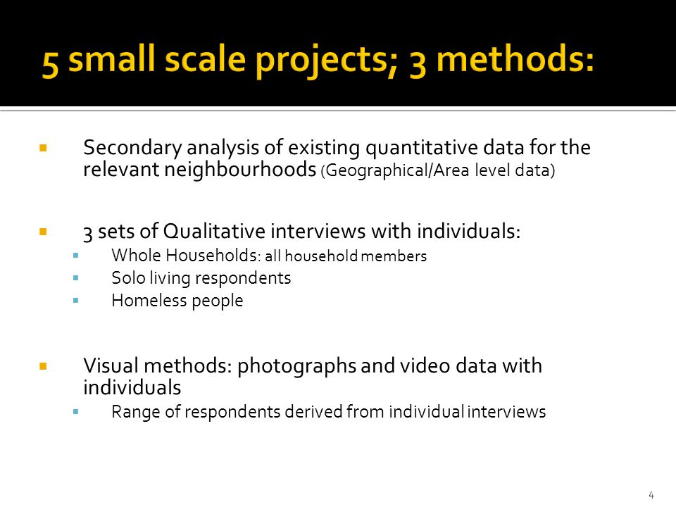 Secondary analysis of existing quantitative data for the relevant neighbourhoods ( Geographical/Area level data) 3 sets of Qualitative interviews with