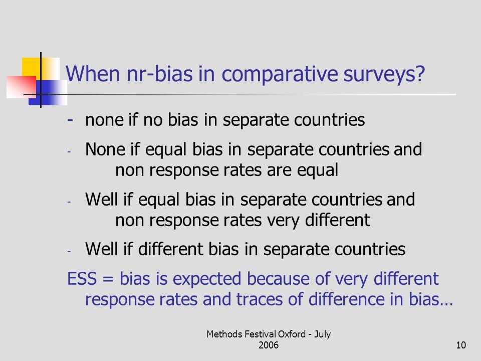 Methods Festival Oxford - July 200610 When nr-bias in comparative surveys.