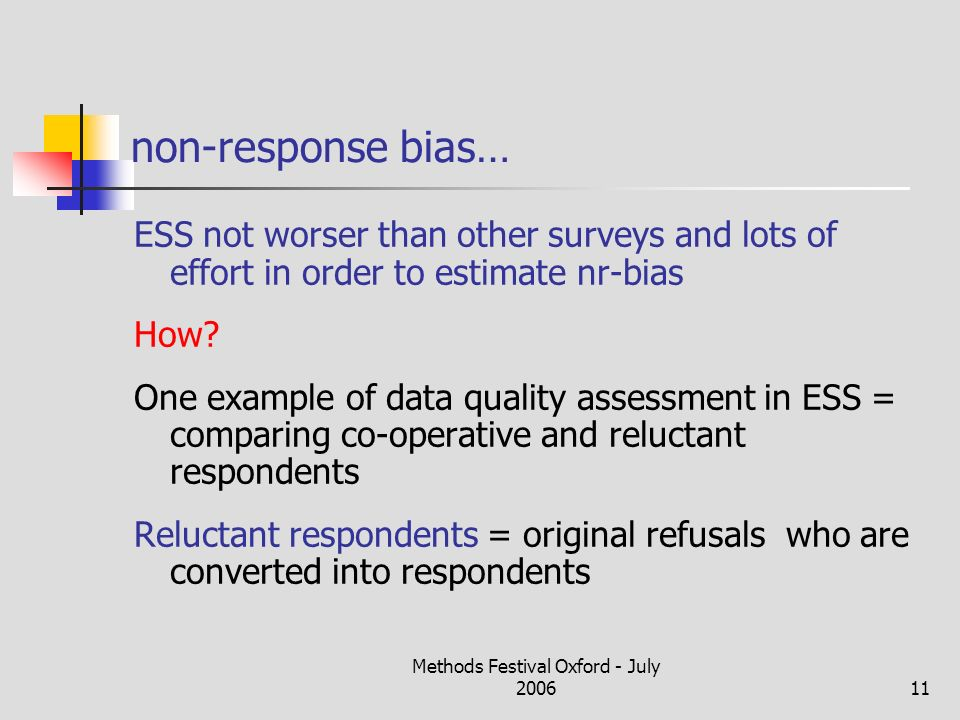 Methods Festival Oxford - July 200611 non-response bias… ESS not worser than other surveys and lots of effort in order to estimate nr-bias How.