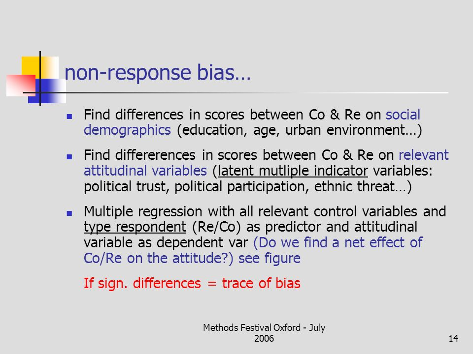 Methods Festival Oxford - July 200614 non-response bias… Find differences in scores between Co & Re on social demographics (education, age, urban environment…) Find differerences in scores between Co & Re on relevant attitudinal variables (latent mutliple indicator variables: political trust, political participation, ethnic threat…) Multiple regression with all relevant control variables and type respondent (Re/Co) as predictor and attitudinal variable as dependent var (Do we find a net effect of Co/Re on the attitude ) see figure If sign.