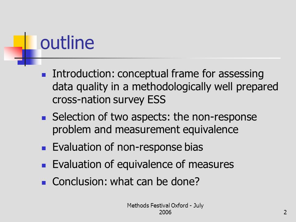 Methods Festival Oxford - July 20062 outline Introduction: conceptual frame for assessing data quality in a methodologically well prepared cross-natio