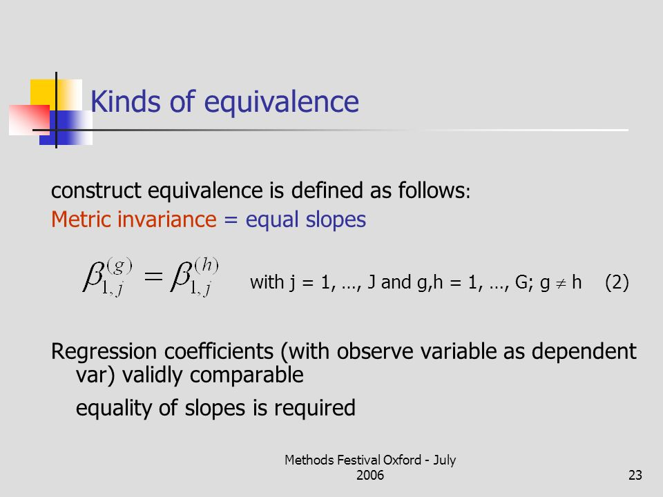 Methods Festival Oxford - July 200623 Kinds of equivalence construct equivalence is defined as follows : Metric invariance = equal slopes with j = 1, …, J and g,h = 1, …, G; g h (2) Regression coefficients (with observe variable as dependent var) validly comparable equality of slopes is required