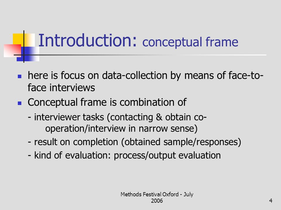 Methods Festival Oxford - July 20064 Introduction: conceptual frame here is focus on data-collection by means of face-to- face interviews Conceptual f