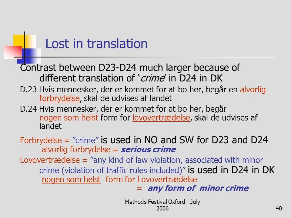 Methods Festival Oxford - July 200640 Lost in translation Contrast between D23-D24 much larger because of different translation of crime in D24 in DK D.23 Hvis mennesker, der er kommet for at bo her, begår en alvorlig forbrydelse, skal de udvises af landet D.24 Hvis mennesker, der er kommet for at bo her, begår nogen som helst form for lovovertrædelse, skal de udvises af landet Forbrydelse = crime is used in NO and SW for D23 and D24 alvorlig forbrydelse = serious crime Lovovertrædelse = any kind of law violation, associated with minor crime (violation of traffic rules included) is used in D24 in DK nogen som helst form for Lovovertrædelse = any form of minor crime