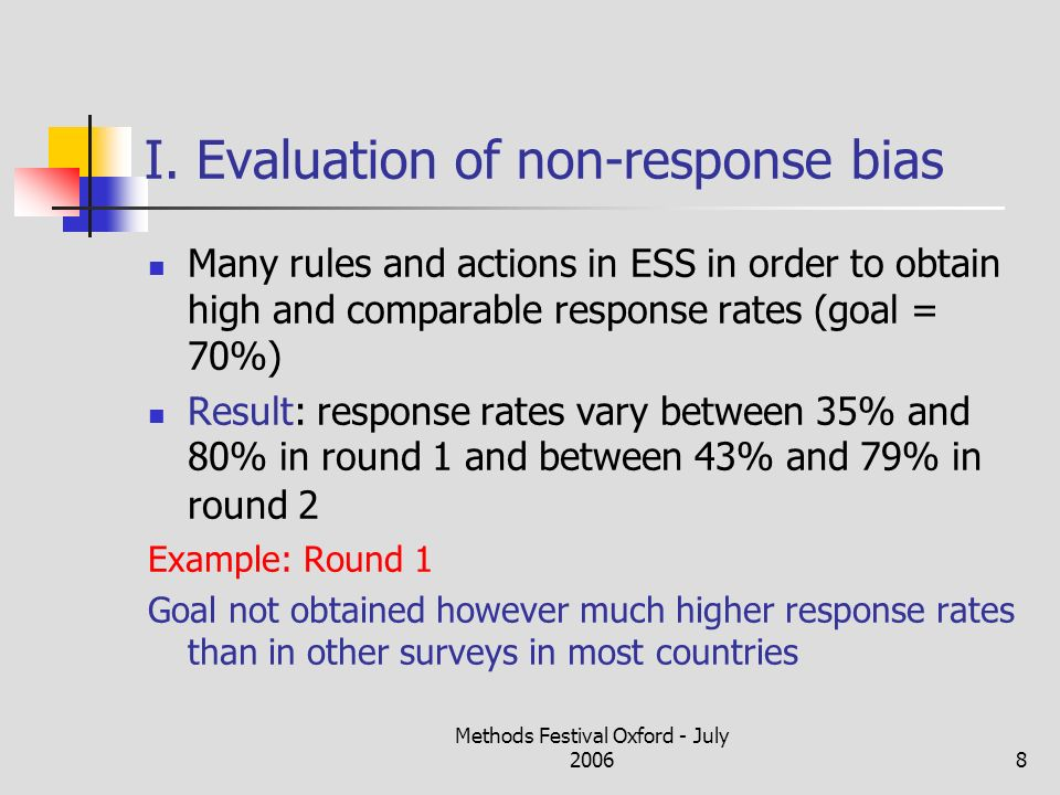 Methods Festival Oxford - July 20068 I. Evaluation of non-response bias Many rules and actions in ESS in order to obtain high and comparable response