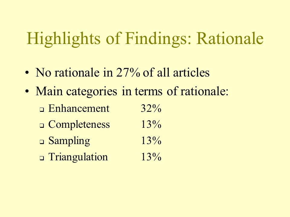 Highlights of Findings: Rationale No rationale in 27% of all articles Main categories in terms of rationale: Enhancement32% Completeness13% Sampling13% Triangulation 13%