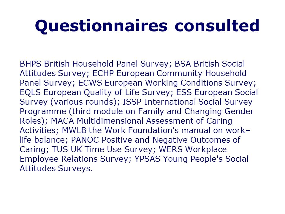 Questionnaires consulted BHPS British Household Panel Survey; BSA British Social Attitudes Survey; ECHP European Community Household Panel Survey; ECWS European Working Conditions Survey; EQLS European Quality of Life Survey; ESS European Social Survey (various rounds); ISSP International Social Survey Programme (third module on Family and Changing Gender Roles); MACA Multidimensional Assessment of Caring Activities; MWLB the Work Foundation s manual on work– life balance; PANOC Positive and Negative Outcomes of Caring; TUS UK Time Use Survey; WERS Workplace Employee Relations Survey; YPSAS Young People s Social Attitudes Surveys.