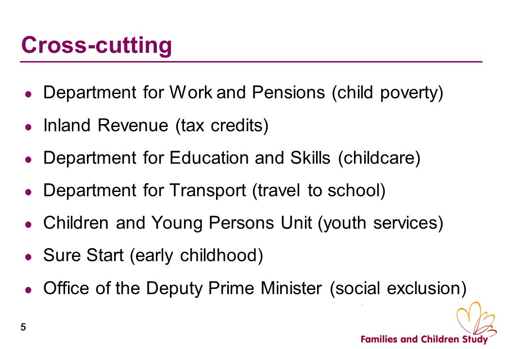 5 Cross-cutting Department for Work and Pensions (child poverty) Inland Revenue (tax credits) Department for Education and Skills (childcare) Departme